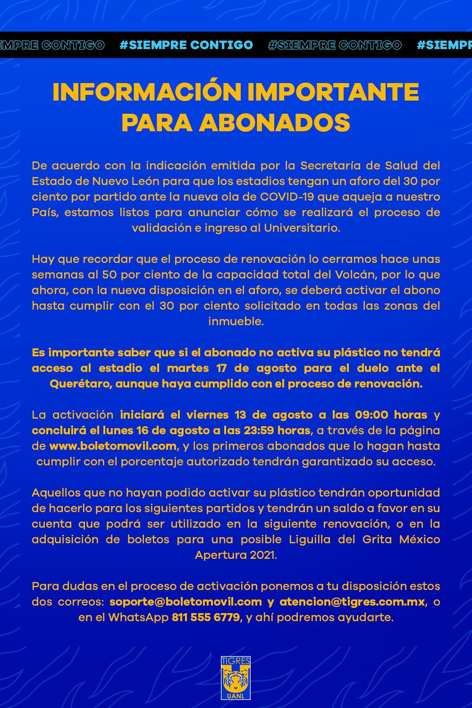 Información importante para todos los abonados de Tigres.